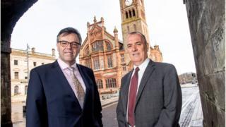Kieran Hegarty of Terex with Invest NI's Alastair Hamilton