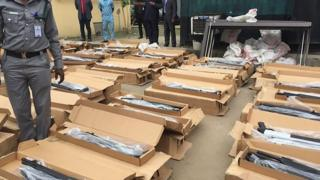 Illegal arms from Turkey wey Nigeria Customs seize