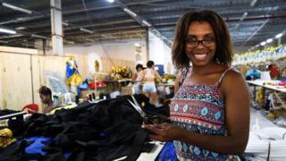 Flavia Jacob works in the samba school