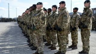 British soldiers from 5 Rifles on parade at Tapa military base in Estonia
