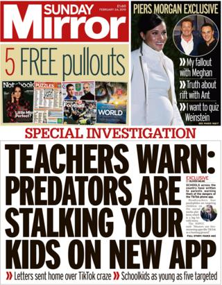 Sunday Mirror front page 24/02/19