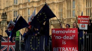 Brexit protests for and against, outside parliament