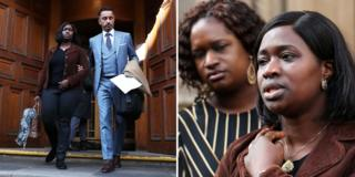 Kadi Johnson and Aamer Anwar leave the Crown Office in Edinburgh to talk to reporters, 3 October 2018