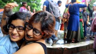 Women celebrate in Kolkata after India de-criminalises homosexuality in September 2018