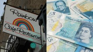 Rainbow Cafe in Cambridge / New £5 note