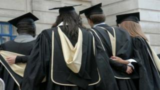 University students in cap and gown