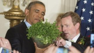 Barack Obama presented with bowl of shamrock