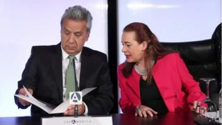 Ecuadoran President Lenin Moreno (L) and Ecuadoran Foreign Minister Maria Fernanda Espinosa (R) participate in a forum during a visit to the EFE-Casa America in Madrid, Spain, 19 December 2017