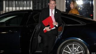 Liam Fox arriving in Downing Street