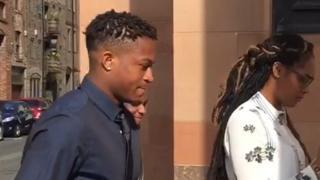 Rolando Aarons on his way into court