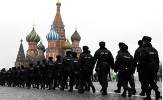 Russian police officers patrol on the Red Square in central Moscow on April 2, 2017, as Russian opposition promised protests
