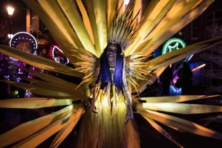 """Performers prepare to take part in the Illuminated Night Carnival Parade which features in the annual """"Light Night Leeds"""" festival of visual arts in the centre of Leeds, northern England on 5 October 2017."""