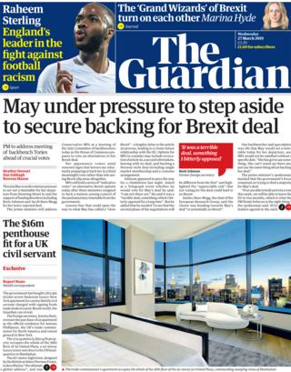 Guardian front page, 27/3/19