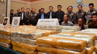 Illegal methamphetamine pills on display at a police bureau in Bangkok (18 August 2013)
