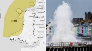 A weather warning map and tides hitting the coast