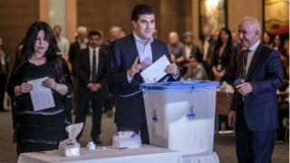 kurdistan prime minister and im wife dey vote