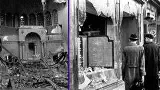The aftermath of Kristallnacht.