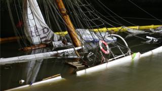 The stricken No 5 Elbe schooner
