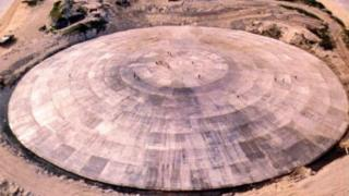Runit Dome, nuclear waste dump, in the Marshall Islands, 1980