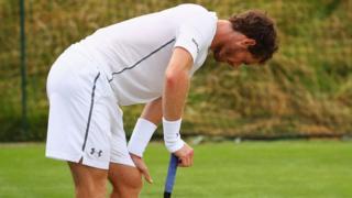 Andy Murrary warming up at Wimbledon