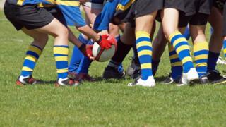 School rugby scrum