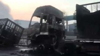 Video grab from CCTV of burnt out vehicles in Zhangjiakou on 28 November 2018
