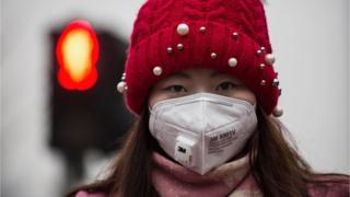 Woman wearing a face mask in China