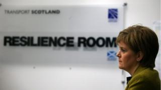 Nicola Sturgeon is briefed in the Resilience Room within Traffic Scotland Control Centre at South Queensferry
