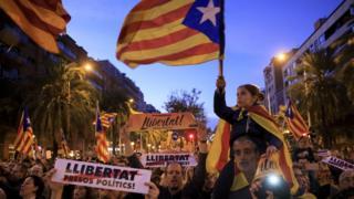 Manifestación en Barcelona, España