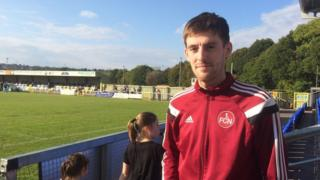 The footballer was there to see his club beat Lurgan Celtic in the last minute