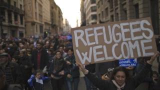 Demonstrators taking part in Saturday's Barcelona protest (18 February 2017)