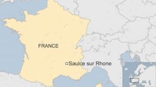 Map of France showing town of Saulce sur Rhone in south-east - June 2016