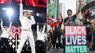 Imagen compuesta de K-Pops Hope y BTS y manifestantes de Black Lives Matter