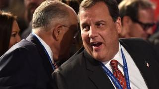 Governor of New Jersey Chris Christie (R) speaks with Former Mayor of New York City Rudy Giuliani before the first presidential debate at Hofstra University in Hempstead