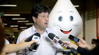 Ministro da Saúde no desafio Zé Gotinha na Campus Party em Brasília 2019.