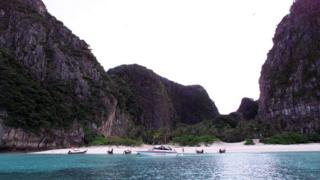 This file photo dated 14 January 1999 shows a general view of Maya Bay, Thailand, the day before the start of shooting for the film The Beach