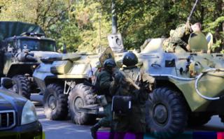 Russian authorities outside school in Kerch