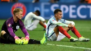 England's Joe Hart and Dele Alli after defeat by Iceland