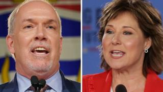 British Columbia NDP Leader John Horgan and British Columbia Premier Christy Clark at their election night rallies in Vancouver