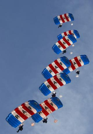 RAF Falcons Display team practice jumps at the Lake Elsinore sky diving centre, California.