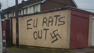 Graffiti on wall at Seapatrick Avenue which says 'EU Rats out'