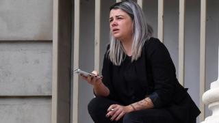 Sarah Davies outside Cardiff Crown Court