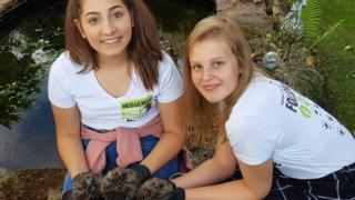Kyra Barboutis and Sophie Smith with hedgehogs