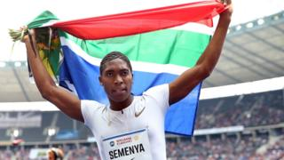 South Africa's Caster Semanya celebrates after winning the women's 1000m race during the ISTAF 2018 athletics meeting in Berlin