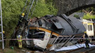 Crashed train at O Porrino, 9 Sep 16