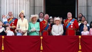 Королева Єлизаветі ІІ та члени королівської родини спостерігають за літаками над Букінгемським палацом