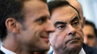 Emmanuel Macron and Carlos Ghosn