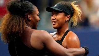 Serena Williams congratulates Naomi Osaka (right) after she beat her in the US Open final