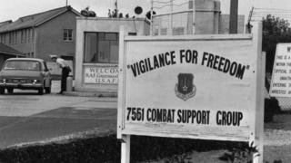 16th September 1972: The entrance to the American Airforce Base at Greenham Common, Berkshire, where visitors are greeted by the sign 'Vigilance For Freedom