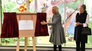 Camilla unveils Roald Dahl-inspired windows at Birmingham hospital